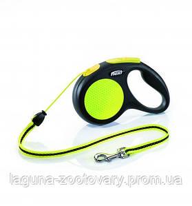 Поводок - Рулетка Нью Классик Неон для собак до 12кг Флекси S, трос, 5м, черный/желтый