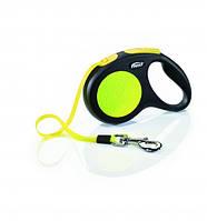 Поводок-Рулетка Нью Классик Неон 3м для собак до 12кг Флекси XS, лента, черный/желтый