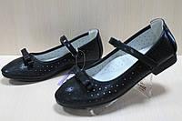 Подростковые черные туфли на девочку, детские школьные туфли с бантом тм Том.м р. 33,35,36