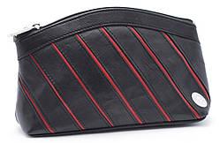 Черная в красную полоску женская косметичка  Swan art. Б/Н black&red большая