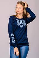Синяя трикотажная вышиванка прекрасная цена  и качество.Нежная вышивка