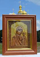 Икона деревянная резная Казанской Божьей Матери с сусальным золотом