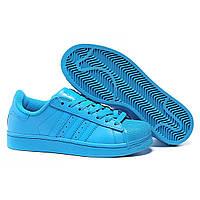 """Кроссовки Adidas Superstar Supercolor  """"Blue"""" - """"Ярко Голубые"""" (Копия ААА+), фото 1"""