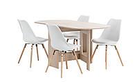 Комплект кухонный  (обеденная группа из стола раскладного + 4 стула белые)