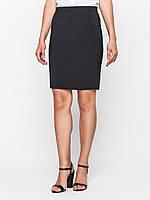 Юбка большого размера классическая 60125, юбка прямая, юбка до колена, черная юбка, для офиса, для школы