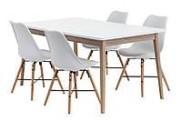 Комплект кухонный белый (обеденная группа из стола белого 160 см + 4 стула белых)