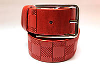 Ремень кожаный 'ClassicRed' 35 мм красный с шахматным узором
