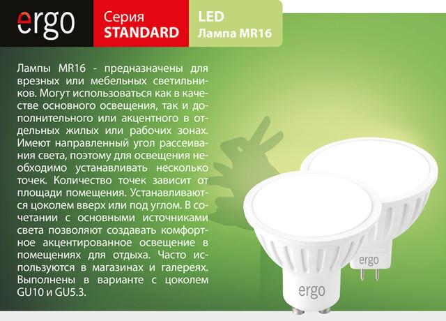Верзная мебельная светодиодная лампа MR16 GU10 GU5.3 Ergo LED