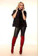 """Женская жилетка из меха сурка с коротким рукавом """"Лайн"""""""