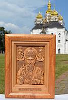 Икона деревянная резная Св. Николай Чудотворец
