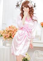 Пеньюар халат атлас+стринги Розовой