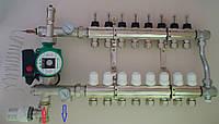 Коллектор на 9 выходов + смесительный узел с байпасом