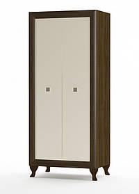 Шкаф Парма 2д 1995х959х400мм дуб сонома темный + крем глянец   Мебель-Сервис