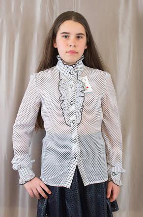 b650e6881ad Модная нарядная белая блуза в горошек для девочки в школу.   продажа ...