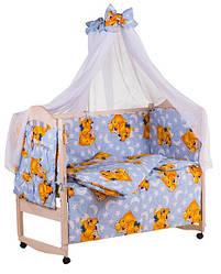 Детское постельное белье Qvatro Gold с рисунком 100% хлопок, голубое мишка-мальчик и мишка-девочка с