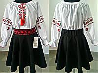 Детская белая блуза вышиванка для девочки на рост от 122-128-134-140-146