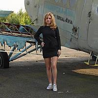 Молодёжное женское платье на завязке с карманами черное