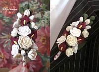 """""""Пионы с каллами и розами"""" Бутоньерка для жениха или свидетеля. Авторские свадебные аксессуары"""