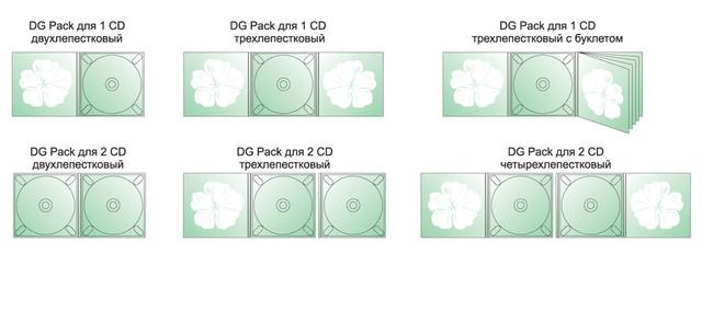 DG Pack для 1 CD двухлепестковый, DG Pack для 1 CD  трехлепестковый, DG Pack для 1 CD трехлепестковый с буклетом, DG Pack для 2 CD двухлепестковый, DG Pack для 2 CD трехлепестковый, DG Pack для 2 CD четырехлепестковый