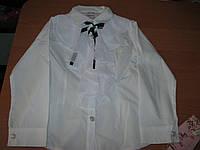 Детская белая блузка  с длинным рукавом для дeвочки 7 лет Турция
