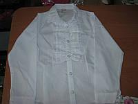 Нарядная  белая блузка с длинным рукавом  для девочки 9-10 лет  Турция