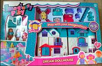 Игрушка кукольный домик 1205AB, фигурки семьи и собаки, набор мебели, светозвуковые эффекты, пластик