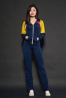 Женский спортивный костюм. Код модели КС-17. Цвет темно синий с горчицей.