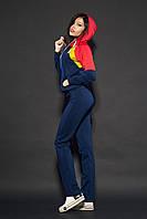 Женский спортивный костюм. Код модели КС-17. Цвет темно синий с красным.