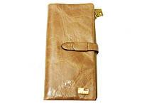 Женский кошелек JCCS 1045 бежевый на кнопке из натуральной кожи съемная визитница