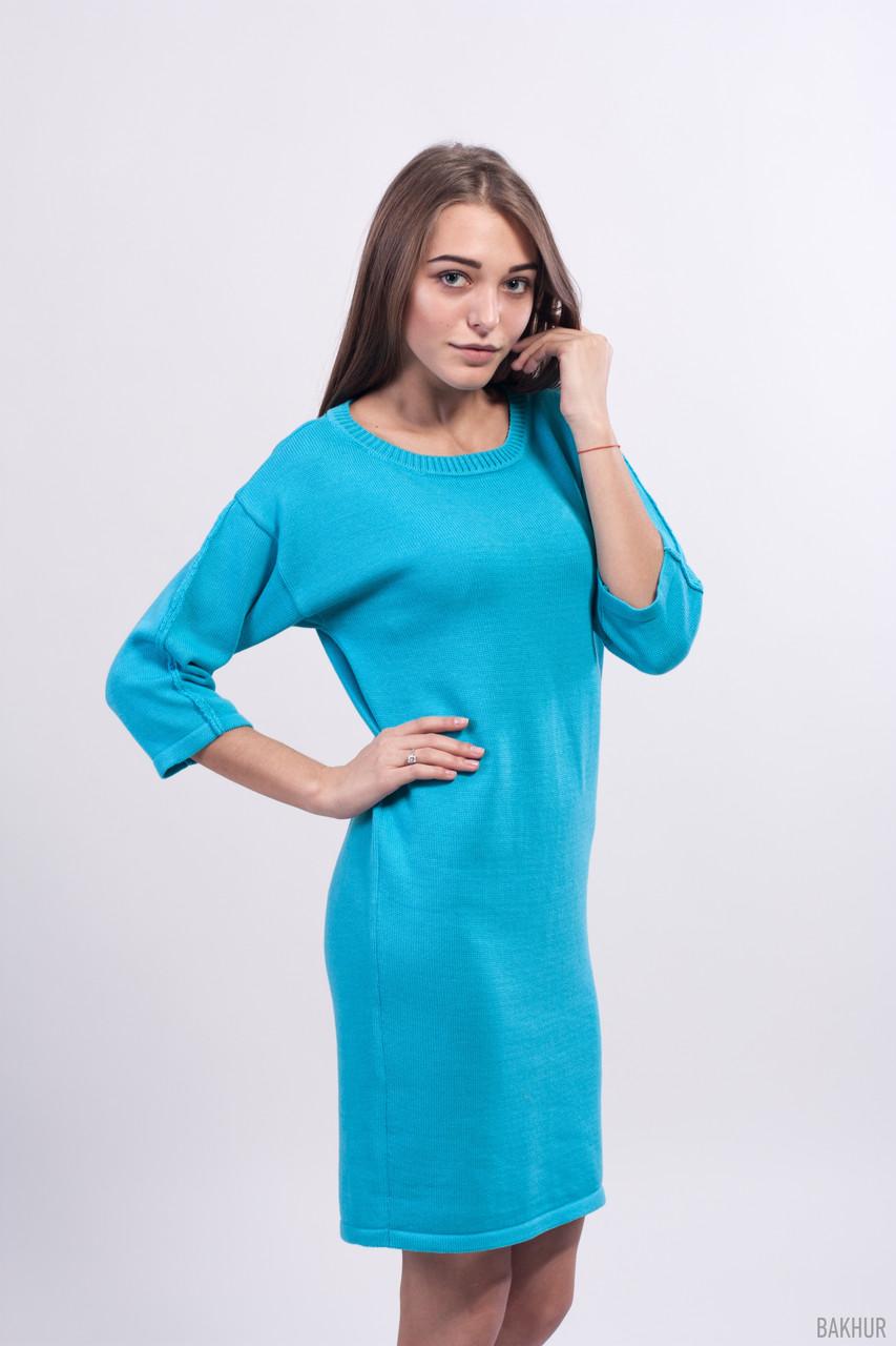 Свободное голубое платье