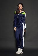Женский молодежный спортивный костюм. Код модели КС-16. Цвет темно синий с белым.