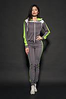 Женский молодежный спортивный костюм. Код модели КС-16. Цвет серый с лимонным.