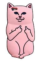 Дерзкий розовый чехол для iPhone 5/5S - Кот с факом
