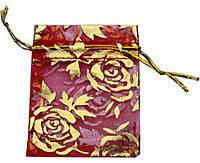 Мешочек из органзы 9х12 см Бордовый розы