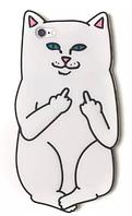 Дерзкий белый чехол для iPhone 6/6S - Кот с факом
