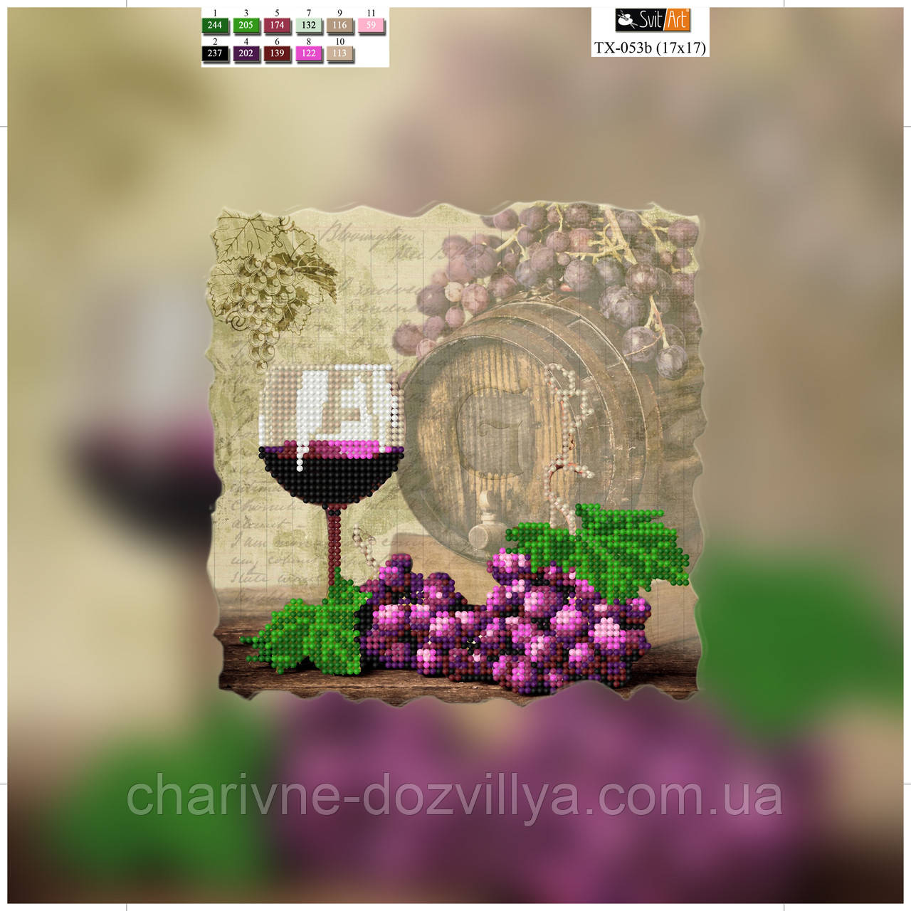 """Схема для вышивки бисером на подрамнике (холст) """"Вино Мускат"""""""
