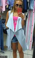 Модный женский жилет свободного фасона с отложным воротником и накладными карманами трикотаж