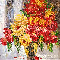 Схема для вышивки бисером POINT ART Розы, размер 25х25 см
