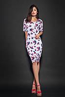 Женское шифоновое платье с принтом. Код модели Л-36-25-16. Цвет белый.