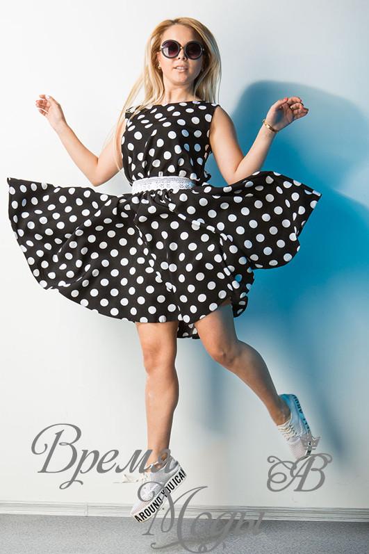 152f3d63e48 Платье чёрное в белый горошек