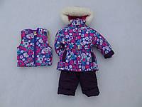 Детский зимний термокомбинезон Зимушка р.80-104 девочкам бордово-фиолетовый в цветы