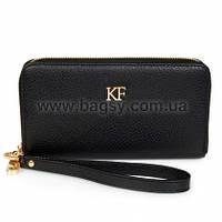 Женский кожаный кошелек Katerina Fox черного цвета из натуральной кожи (KF-373)