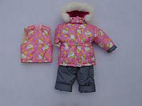 Детский зимний термокомбинезон Зимушка р.80-104 девочкам серый с розовым с Китти