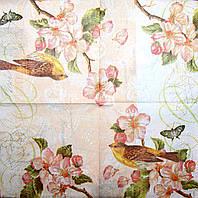 Салфетки декупажные Птица на цветущей ветке 1363