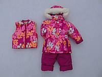 Детский зимний термокомбинезон Зимушка р.80-104 девочкам малиновый в яркие цветы