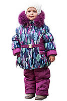 Детские зимние термо комбинезоны для девочек р.86-110 с натуральной меховой опушкой