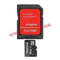 Карта памяти SanDisk microSD 16GB + SD адаптер (SDSDQM-016G-B35A)