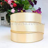 Атласная лента с люреском 2,5 см, кремовая+золото