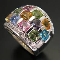 Кольцо серебро 925 пробы танзанит, цитрин, перидот, топаз 4,75 карат