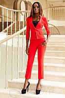 Женский красный брючный костюм Ясмин_2 42-48 размеры Jadone